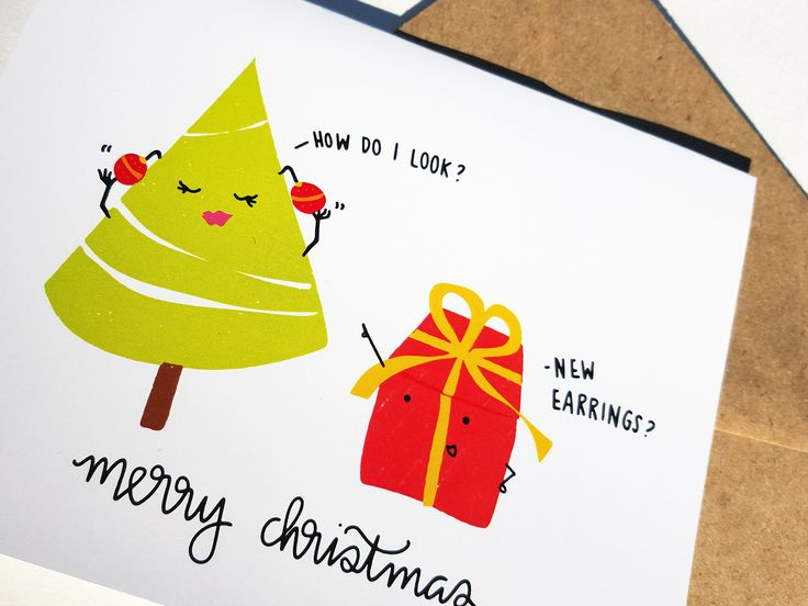 HOW DO I LOOK - Card - Christmas Card - Cute Simple Pun Funny Love Handmade - For Him/Her, Friend, Holiday Season, Greeting, Work by THEBRANCHANDTHEVINE on Etsy