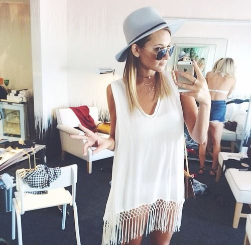 indie style - white knit fringe tank top dress , choker necklace , hat