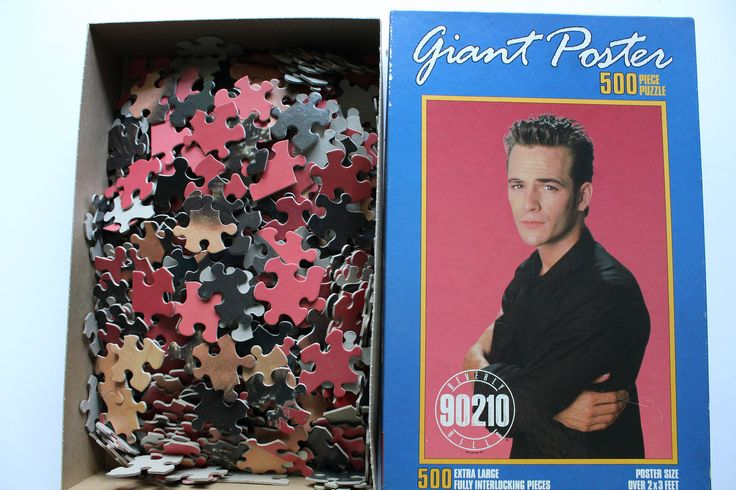 Vintage Milton Bradley Beverly Hills 90210 Luke Perry Giant Poster Jigsaw Puzzle 1991 by WylieOwlVintage on Etsy