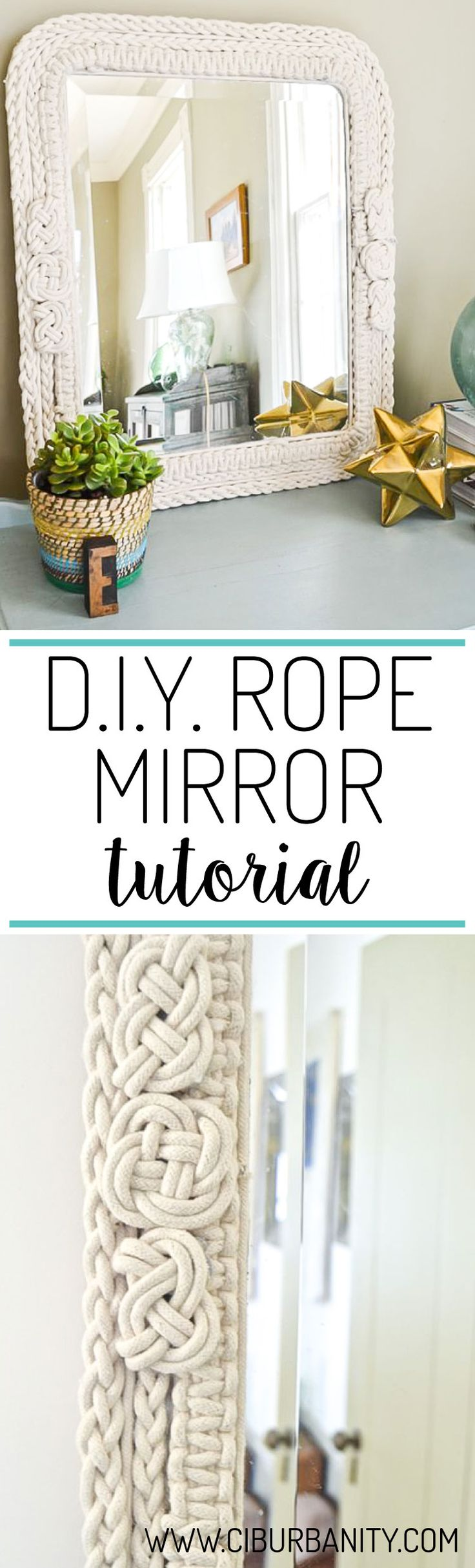 Wow!  This DIY rope mirror is stunning and looks high-end, but was made with materials from the Dollar Store.  GENIUS!