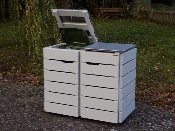 2er Mülltonnenbox / Mülltonnenverkleidung Holz mit Edelstahl - Deckel für 120 L & 240 L Mülltonnen, Oberfläche: Lichtgrau