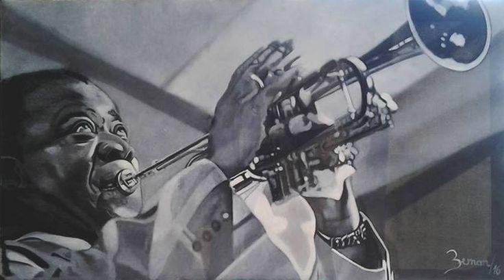Louis Armstrong, technique: oil on canvas, autor: Petr ZEMAN, Czech Republic, Vrchlabí 2016