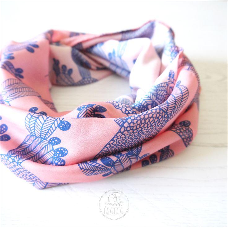 """Sciarpa ad anello rosa e blu """"ficalinni"""", cactus infinity scarf di SmartmamaLab su Etsy"""
