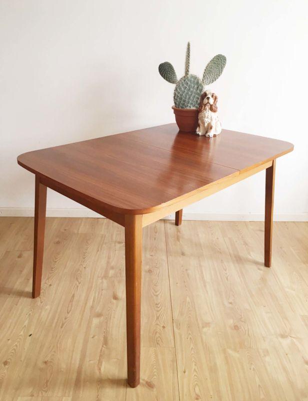 Formica Tafel Uitschuifbaar.Vintage Tafel Met Uitschuifbaar Blad Houten Retro Design Eettafel