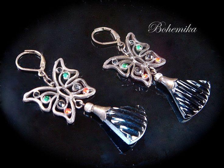 Large Antique Art Deco Black Czech Glass Dangle Earring Butterfly Drop Bronze #Unbranded #DropDangle