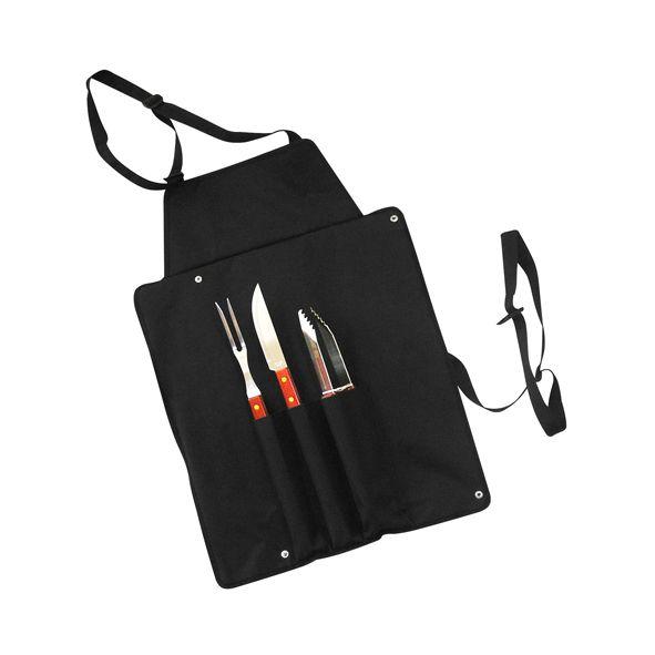 COD.VN043 Delantal de tela raquelada negra con 3 prácticas herramientas para asado. Plegable y transformable en bolso. Fácil para bordar o imprimir.