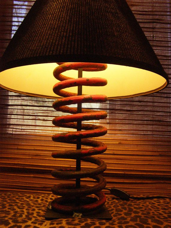 Lamp base made from Cast Iron Vintage Farm Equipment Tractor Spring Chippy Red Rust  Lamp Industrial Loft Country Chic