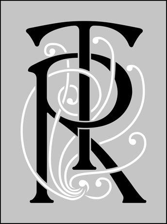 Lettering Victorian Monogram stencils, stensils and stencles