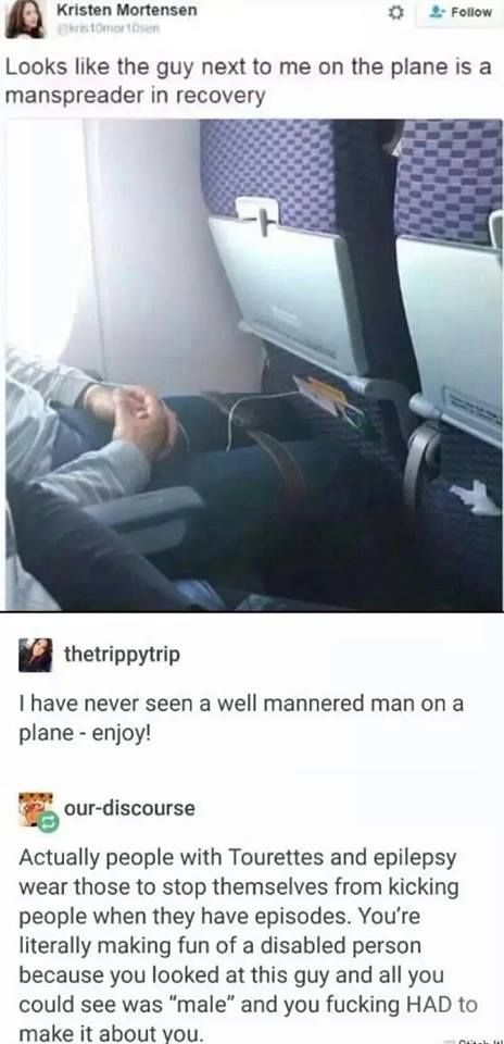 Feminist woman photographs & mocks a disabled man on an airplane, and posts his photo on the Internet. - Imgur