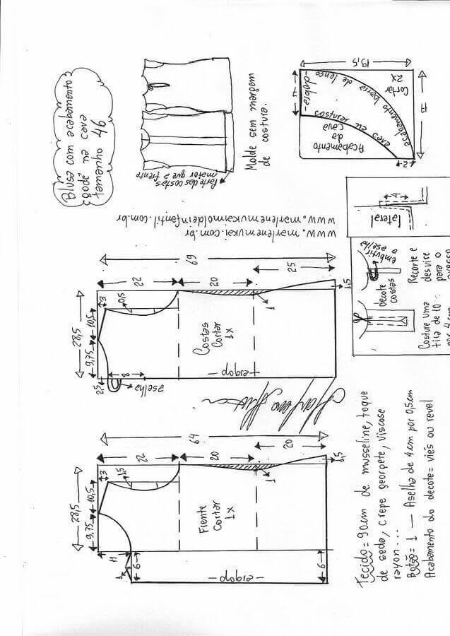 Patrón de blusa con pliegue delantero Patrón con el que podrás hacer esta bonita blusa con pliegue en la parte delantera, tallas desde la 36 hasta la 56. Fuente:http://www.marlenemukai.com.br/ Patrón Blusa asimétrica en dos tejidosPatrón Blusa suéter raglanBlusa con solapa y volanteCamisa grande estilo XXLPatrón de Camisa manga larga sin hombrosPatrón para hacer …