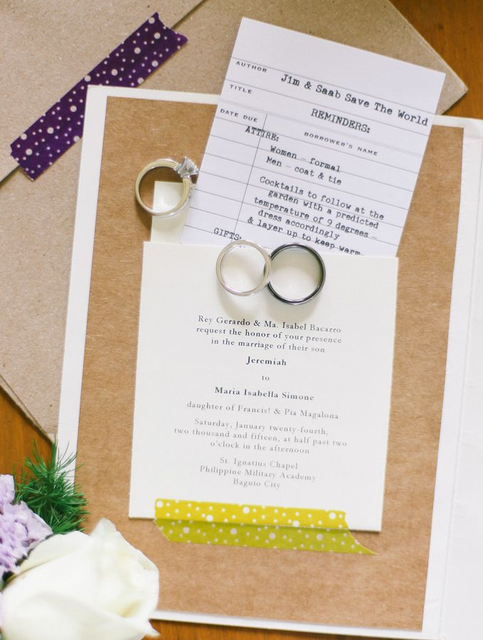 How cute are these library inspired wedding invitations