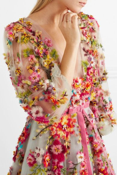 67c49767 Marchesa - Embellished appliquéd tulle gown | Projects to try | Tulle gown,  Dresses, Marchesa