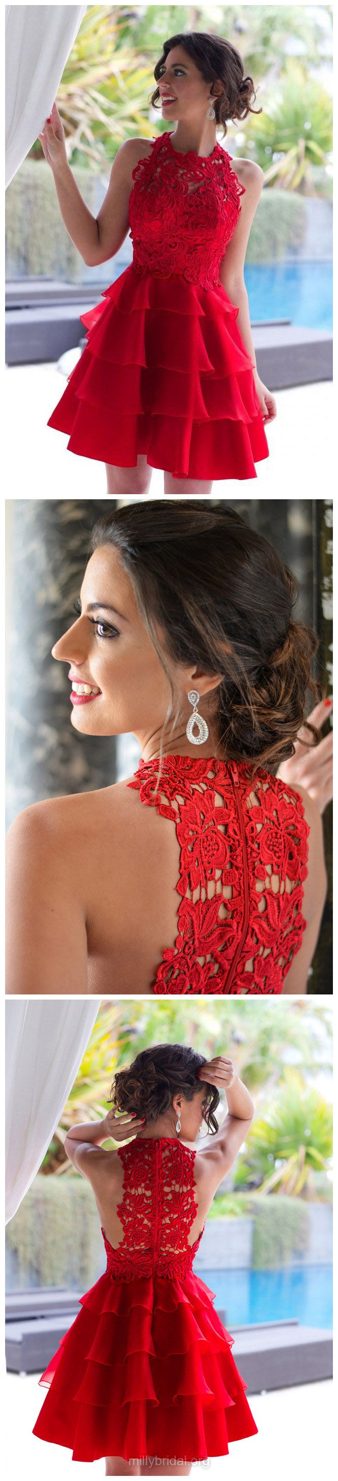 Short Prom Dresses, Red Prom Dresses, Lace Prom Dresses A-line, Scoop Neck Prom Dresses Chiffon, 2018 Prom Dresses Tiered New Style