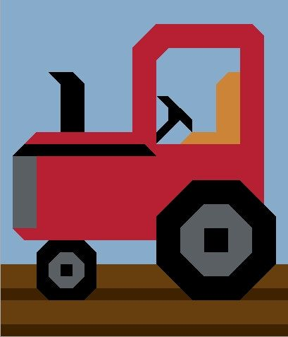 Tractor Quilt Pattern in 3 Sizes PDF por CountedQuilts en Etsy