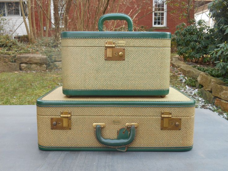 Set of 2 Suitcases Green Leather Trim and Yellow Tweed Travel Decor Wedding Maximillian Traincase and Small Suitcase with Luggage Tags by Swansdowne on Etsy https://www.etsy.com/listing/157281053/set-of-2-suitcases-green-leather-trim
