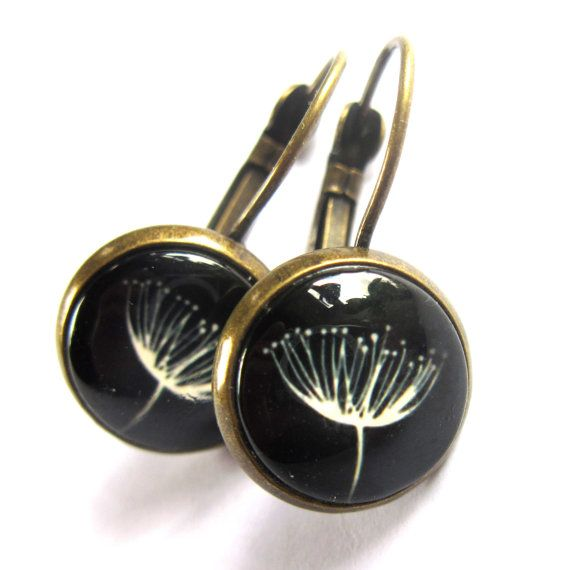 Parsley Flower Earrings Black and White Domed by gimmethatthing