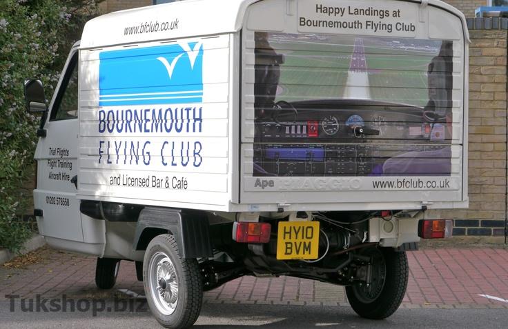 Piaggio Ape TM Van with custom graphics for Bournemouth Flying Club