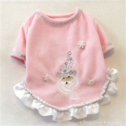 Pink fleece Christmas dog sweater with Santa embroidery ans Swarovski crystal accents http://www.littledogfashion.com/IcySantaChristmasFleeceSweaterDresses4Dogs-p/sweater-icy-snta.htm