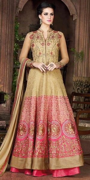 Adorning Beige Silk Embroidery Gown.