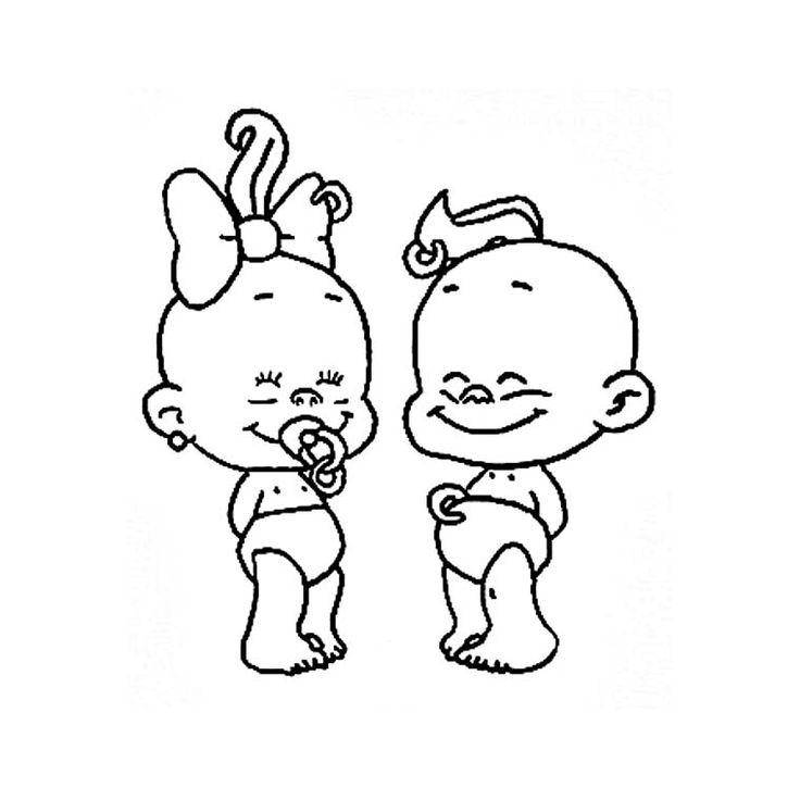 Coloriage b b s fille et gar on a imprimer gratuit coloriages clip art character et snoopy - Dessin fille et garcon ...