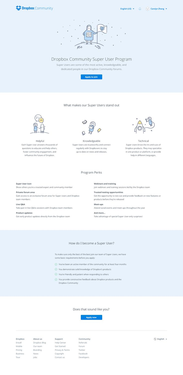 Dropbox community: Super Users. #Dropbox #WebDesign #UI