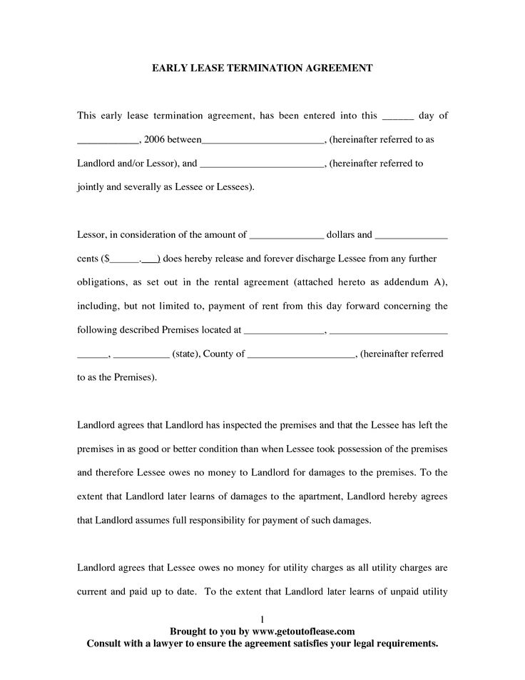 early lease termination agreement letter renewal landlord Home - lease termination agreement