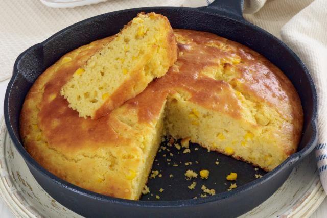 Cornbread made with buttermilk, eggs, cream-style corn, and butter. A tasty cream-style corn bread made with buttermilk.