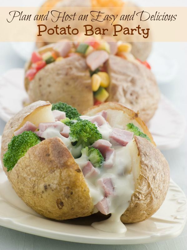 A potato bar with hot baked potatoes and varied toppings makes for a fun party buffet where guests can help themselves to what they like. You can also make a potato bar at home, quickly and easily.