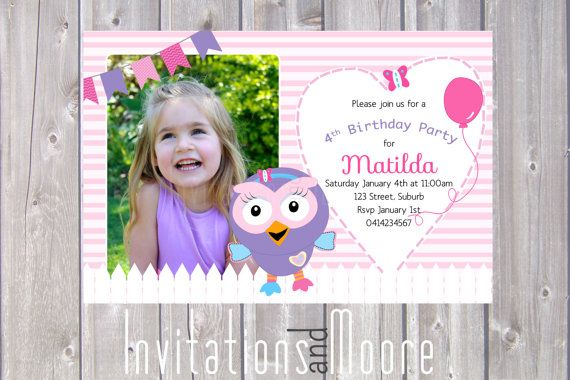 Girls Hootabelle the Owl Invitation with by InvitationsandMoore, $15.00
