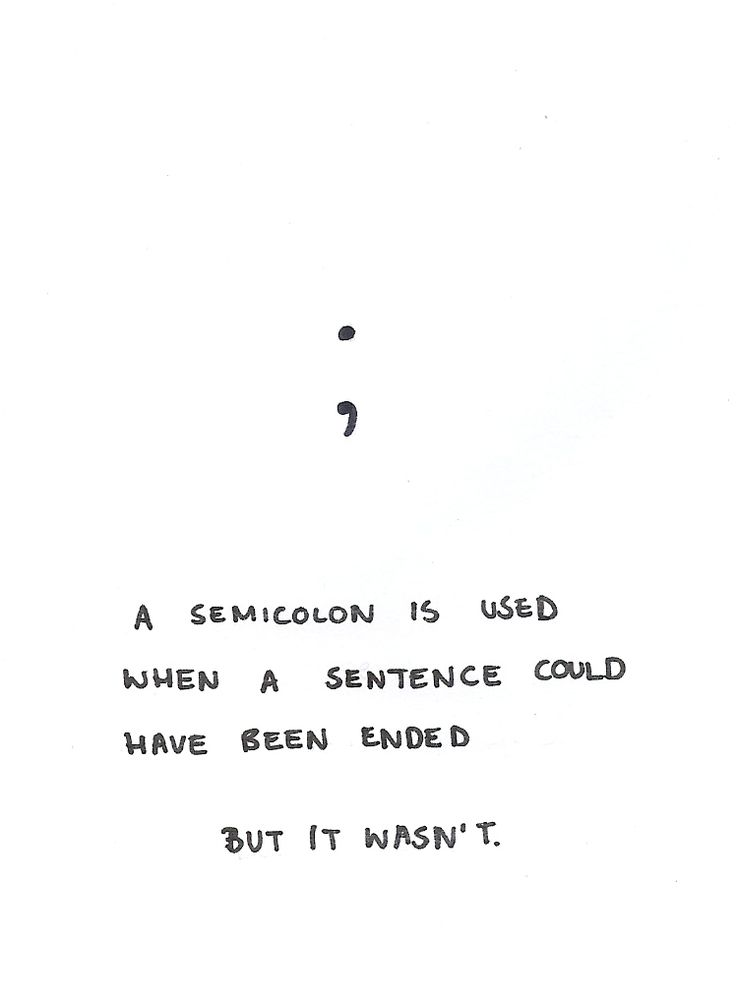 """Semicolons are fucking beautiful. They're like a wedding ring between two sentences; we are different, but we are irrevocably bonded."""