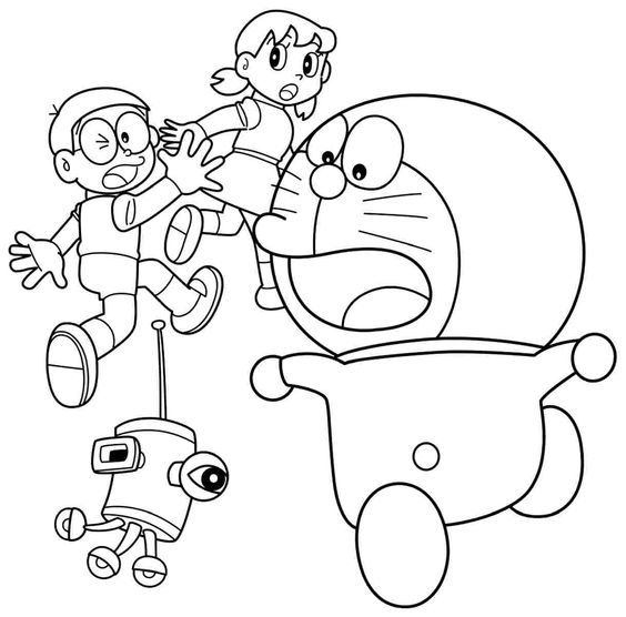 doraemon and friends coloring pages 7 - Doraemon Colouring Book