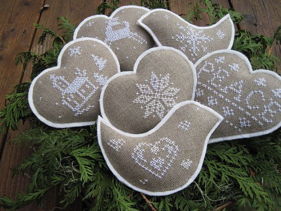 Christmas Cross Stitch Bowl Fillers/Ornaments (Scandinavian Style)