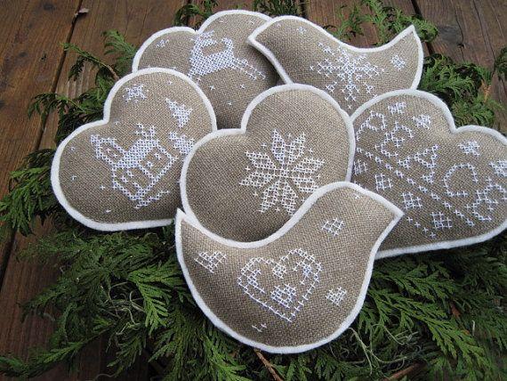Christmas Cross Stitch Bowl Fillers/Ornaments (Scandinavian Style)
