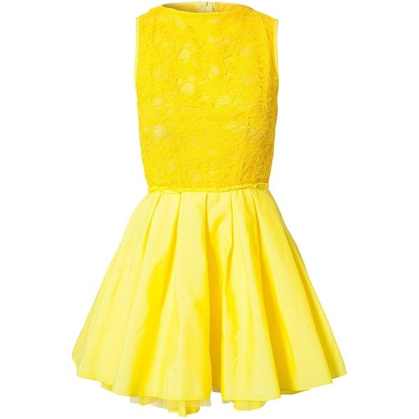 Jones & Jones Audrey Dress ($65) ❤ liked on Polyvore featuring dresses, vestidos, yellow, short dresses, lemon, party dresses, womens-fashion, yellow pleated dress, sheer mini dress and lemon yellow dress