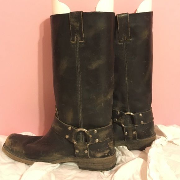 Frye riding boots Frye riding boots only worn a couple times. Are meant to look distressed. Frye Shoes Winter & Rain Boots