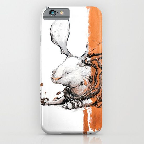 Cellphone case, drawing  ink/pen  acrylic  other   black-&-white  illustration  figurative  rabbit   bunny  long-ears  root  leaves   blooming  harvest  fall  autum   orange