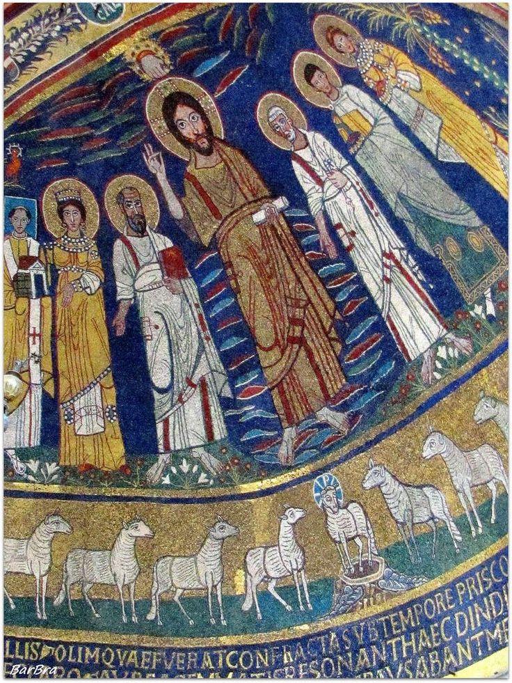 A lato del Cristo, a sinistra, S. Paolo, S. Cecilia e  Papa Pasquale I ... al di sotto una teoria di agnelli si dirigono verso l'Agnello centrale... Mosaici di Santa Cecilia http://zibalbar-foto.overblog.com/2014/04/mosaici-carolingi.html