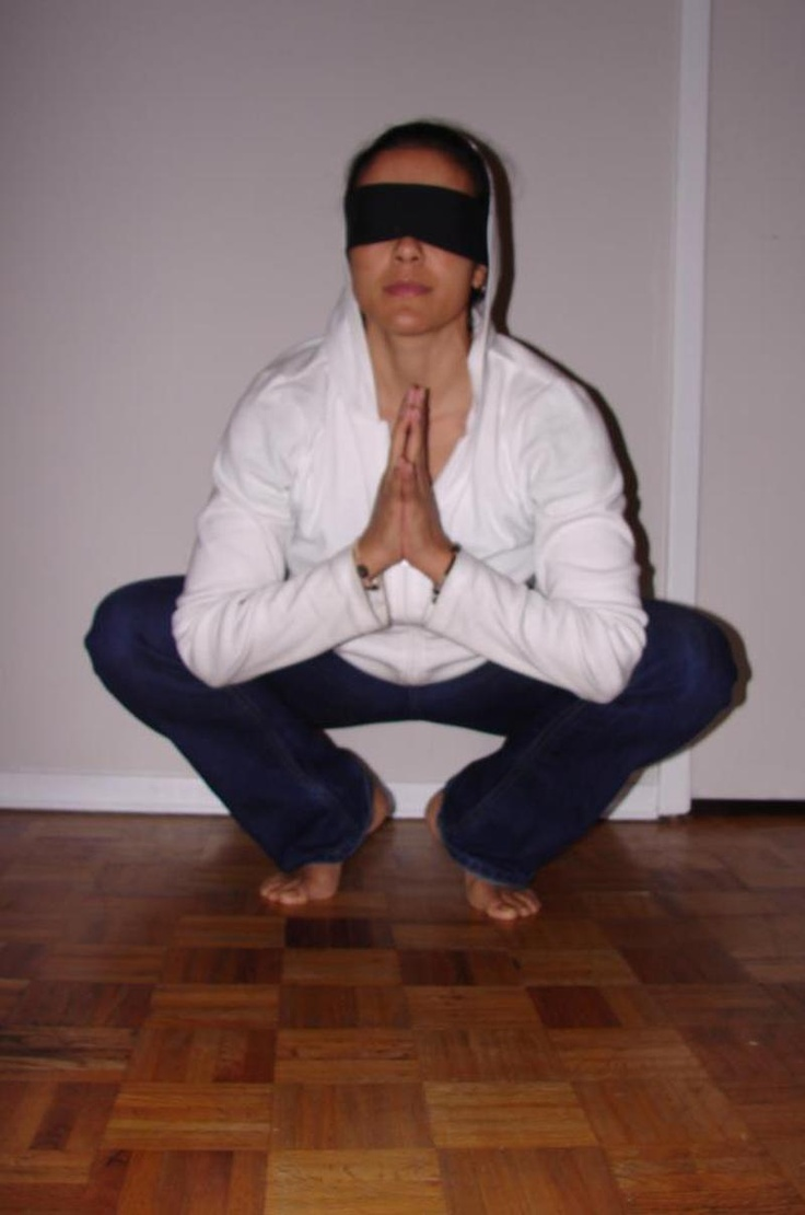 Blindfolded yoga allows me to go inward  focus only on my breath  body