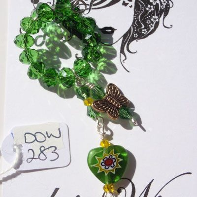 doinWire Wine Charm Green crystals, green and yellow crystals and green glass heart and butterfly charm. DOW283