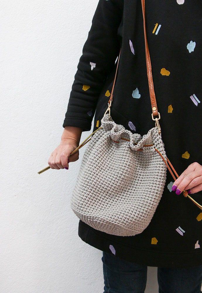 Crochet Pattern Drawstring Bucket Bag Crochet Diy Crochet Bag