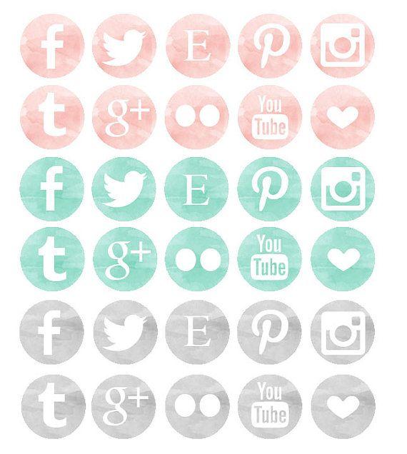 Blog graphique / / Social Media Icons / / aquarelle graphiques / / bleu Rose et gris