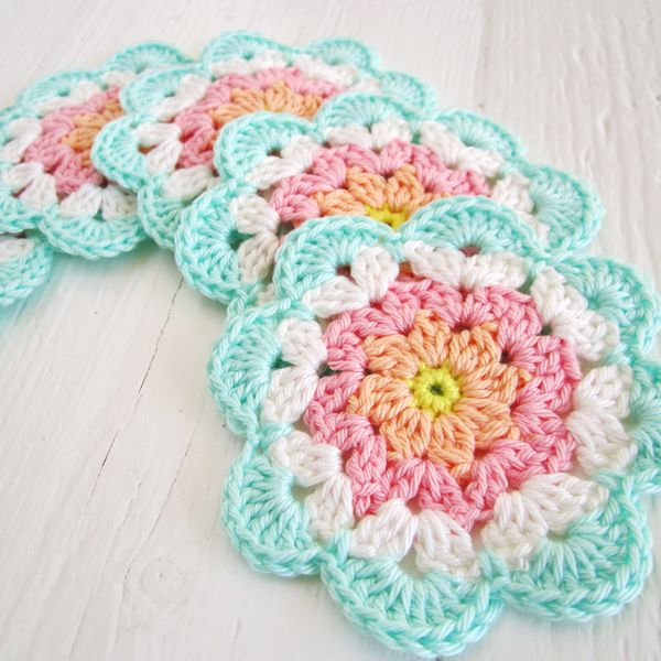 pink yellow peach and aqua crochet flower coasters Bright & Colourful Free Crochet Patterns