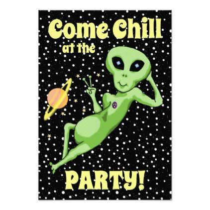 Peace Alien Party Invitation - birthday diy gift present custom ideas