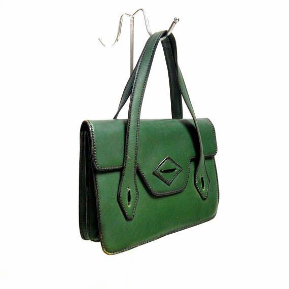 Vintage bag green 50s handbag leather sac tasche pinup