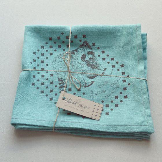 Raccoon silk screen printed linen napkins  http://www.etsy.com/listing/170684194/raccoon-silk-screen-printed-linen?ref=listing-shop-header-3
