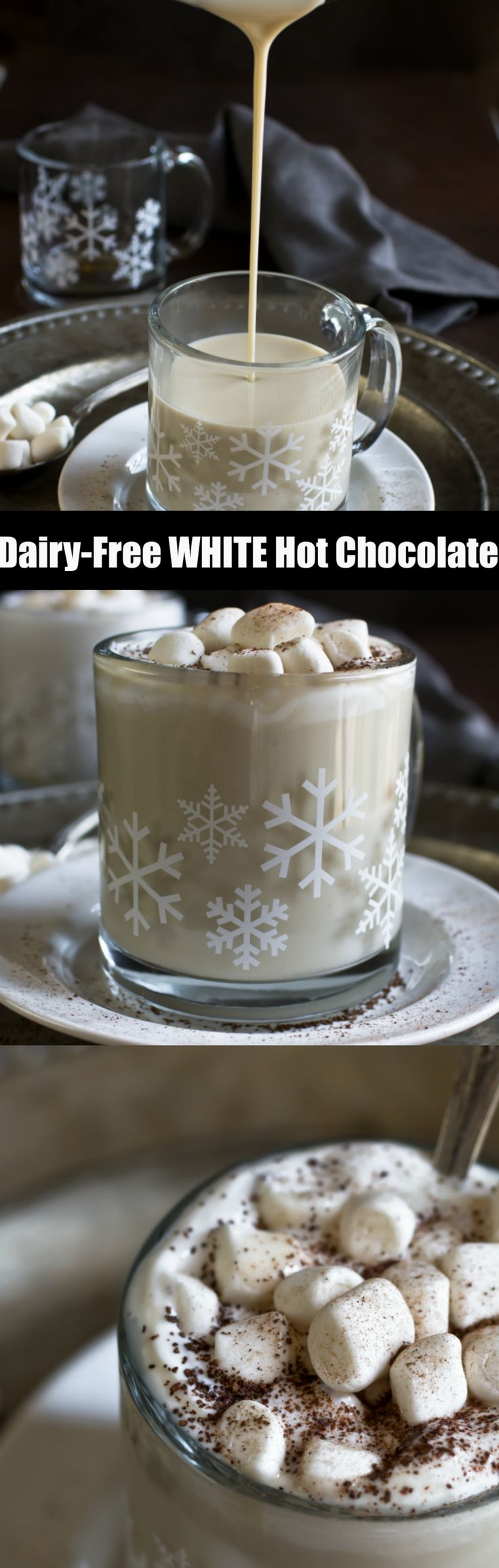 Homemade Dairy-Free Vegan White Hot Chocolate that is creamy, rich, indulgent and delicious! Made with just 5 ingredients...coconut milk, real cocoa butter, cashew butter, maple syrup and vanilla!