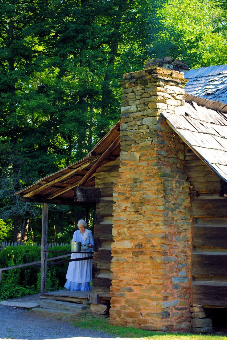Mountain Farm Museum in the Great Smoky Mountains in North Carolina