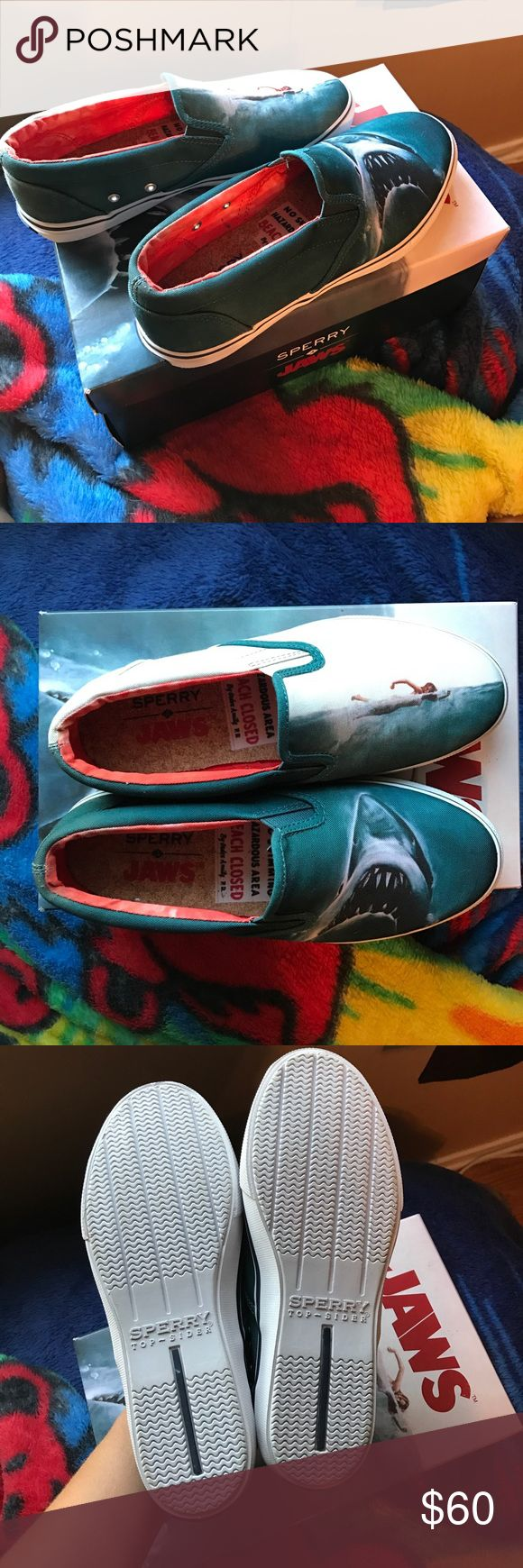 Selling this Brand new, men's size 6 1/2 slip on Jaws Sperrys on Poshmark! My username is: tiffanydonohoe. #shopmycloset #poshmark #fashion #shopping #style #forsale #Sperry #Shoes