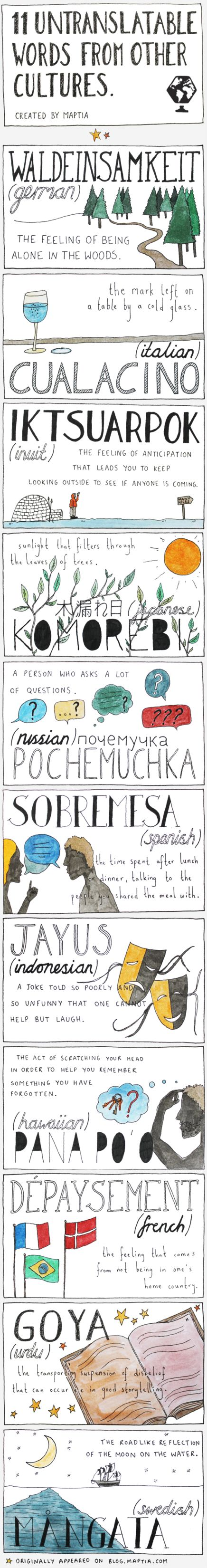 11 Untranslatable Words from other Cultures - Eleven wonderful, must-know, elusive words which have no single word within the English language that could be considered a direct translation. I must use these!