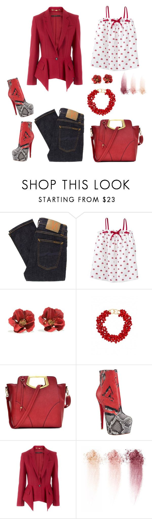 """""""Sans titre #12"""" by carolinesaracosa77 on Polyvore featuring mode, Nudie Jeans Co., Gap, PONO, Dasein, Christian Louboutin, Gucci et NARS Cosmetics"""